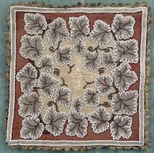 Antique Hand Embroidered Beadwork Panel 14x14 Inches