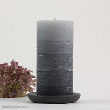 "Gray Pillar Candle, 3x6"" - Rustic Layered Fade - Grey Striped Candle - Unscented"