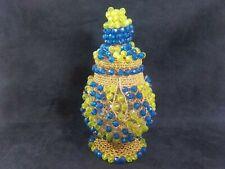 "8.5"" Multicolored Beaded Bottle Mason Jar Clear Glass Decorative Home Decor"