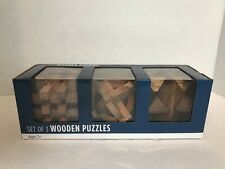 New In Box Brain Teaser 3D Set Of 3 Wooden Puzzles Toys