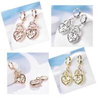 "Women Silver/Gold/Rose Gold Heart Padlock Vintage Wedding Dangle Earrings 1.4"""