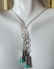 Teal Blue Rose Flower Sterling Silver Lariat Circle Pendant Wrap Necklace