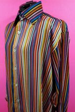 NEW CIBREO 100% SILK DRESS CASUAL LONG SLEEVES SHIRT RAINBOW COLOR XL