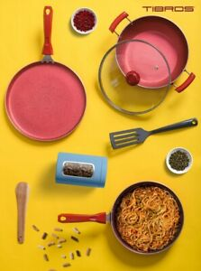 NEW: Granite Coated - Non-Stick 6 PCs Cookware Set (Including Dosa Tawa) - RED