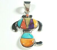 """925 STERLING SILVER PUPPY STYLE SPINY OYSTER MOP TURQUOISE 1 1/2"""" x 7/8"""" PENDANT"""
