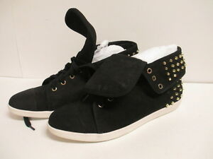 Boutique 9 Katreen Studded Fashion Sneaker Black Leather New in Box
