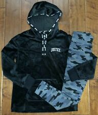 NWT JUSTICE GIRLS 12 OUTFIT~BLACK VELOUR HOODIE / CAMO LEGGINGS