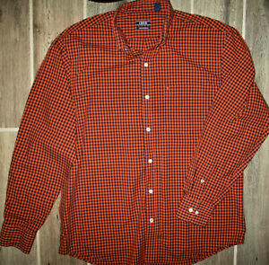 IZOD Button Down Shirt Premium Essentials Orange, Black, Size Medium M Men's