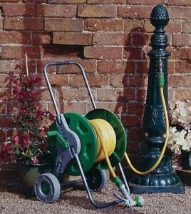 25m Hose Reel Cart Trolley Spray Gun Garden Outdoor Hosepipe Water Pipe Portable