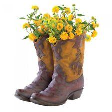 Rustic Country Western Decor Cowboy Boots Planter Wild West Indoor Outdoor Vase