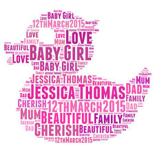 Personalised Rubber Duck Word Art Print Great Gift, Son Daughter New Baby