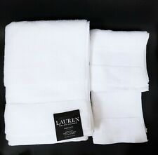 NEW RALPH LAUREN WESCOTT 3 PC SET  SAILCLOTH WHITE BATH+HAND+WASH CLOTH TOWEL