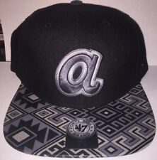 Atlanta Braves 47 Brand MLB COOP Moroc Fitted Hat Size 7 3/4 Black New