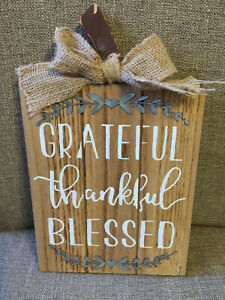 Thankful Grateful Blessed Rustic Wooden Plaque Decor w/Metal Leaves and Bow