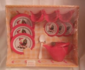 Wolverine Child Toy Tea Set steel dishes teapot cups Vintage MIB Roosters