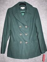Merona Women's Spruce Green Wool Double Breasted Pea Coat Jacket