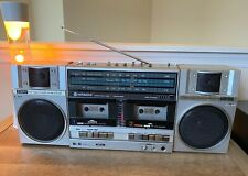 "Hitachi TRK-W55H Boombox Stereo Radio Double Cassette ""Ghetto Blaster"" Serviced!"