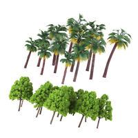 37x Miniature Green Palm&Cypress Tree Model 1:65-1:150 Roadway Scene Decors