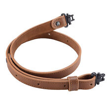 Rifle Gun Sling Buffalo Hide Leather with Mil-Spec Swivels Durable Gun Strap 1''