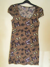 Women Vintage BUTTERFLY BROWN Bodycon Winter Fleece Dress Size8 Tunic Top Blouse
