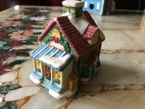 Small Porcelain Snow Covered Victorian Christmas Brick Cottage Green & Red