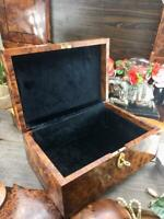 Black velvet Lined Jewelry Thuya Wooden box, luxury vintage victorian style box