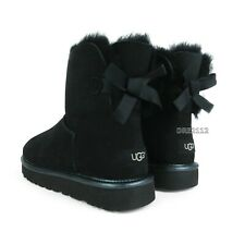 UGG Mini Bailey Bow II Metallic Black Fur Boots Womens Size 9 *NIB*