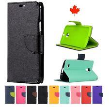 """BlackBerry DTEK 60 (5.5"""") Leather Flip Wallet Case Cover w Credit Card Slots"""