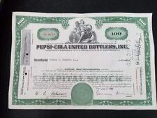 Vintage Pepsi-Cola United Bottlers, Inc. Stock 1961