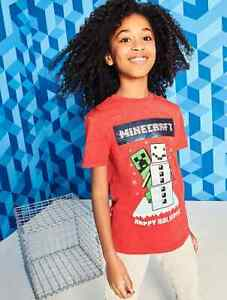 Minecraft Red Swipe Sequin Christmas Xmas T-Shirt Age 5-6 6-7 Years NEW