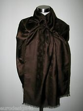 AUTH CARTIER PARIS SILK/WOOL 26X82 BROWN SCARF/SHAWL with Logo made in Italy