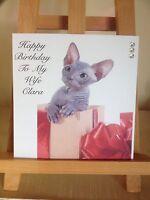 Handmade Personalised Sphinx Cat Spynx Birthday Card