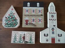 Cats Meow Village Retired 1990 Christmas Dulany House & St John Church 4 pieces