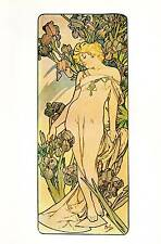 "Alphonse Mucha 1976 Authentic Vintage Art Nouveau Print ""IRIS"" LIBRO Piastra"