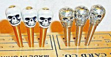 Cribbage Pegs  6-Terminator Skull-Top  3-Brass, 3-S.Steel & Velvet Pouch USA a
