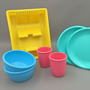 Vintage Little Tikes Dishes 1984 Plates Bowls Cups + Dish Drainer Plasto Bambola