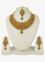Indian Fashion Jewelry Necklace Gold Plated Wedding Bollywood Traditional Set