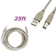 25Ft USB 2.0 High Speed Type A Male to Type B Male Printer Scanner Cable Cord Gy