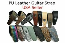 Classic Soft Guitar Strap Green Polyurethane Leather Belt Acoustic Electric
