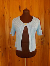 PER UNA M&S baby pastel blue knitted short sleeve cardigan jacket top S 8-10 38
