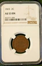1865 Two Cent Piece : NGC AU53