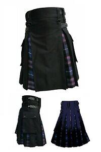 Hybrid Black/Purple Utility Kilt Purple Tartan Under Pleats
