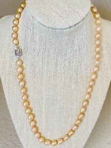 "Freshwater Pearl Necklace 18"" Length Champagne Color Stainless Clasp"