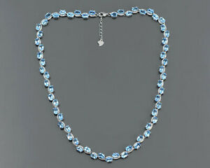 Natural Swiss Blue Topaz Gemstone 925 Sterling Silver Adjustable Chain Necklace