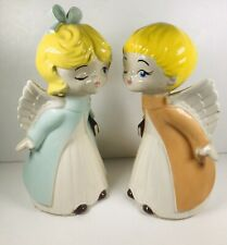 Vintage Hand Painted Kissing Winking Choir Angel Figurines Blond Hair Blue Eyes