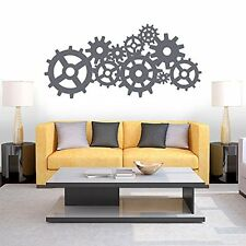 Wall Decal Vinyl Sticker Steam punk Gears and Cogs Geometric Machine r329