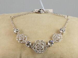 Kate Spade Silver Plated CRYSTAL ROSE Openwork Pave' Flower Bracelet O0RU3101