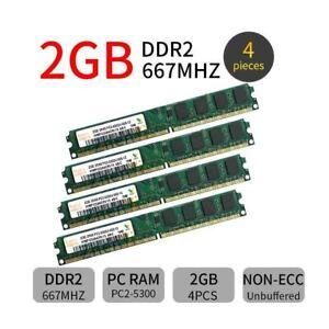 8GB 4x 2GB 667MHz DDR2 PC2-5300U 240Pin DIMM Desktop PC Memory SDRAM Hynix  BT