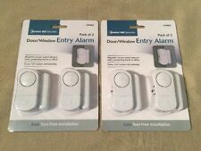 Door/Window Entry Alarm with Magnetic Sensor, 2 Packs of 2 (4 Total)- NEW