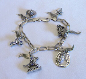Vintage Cowgirl Cowboy Charm Bracelet with Charms